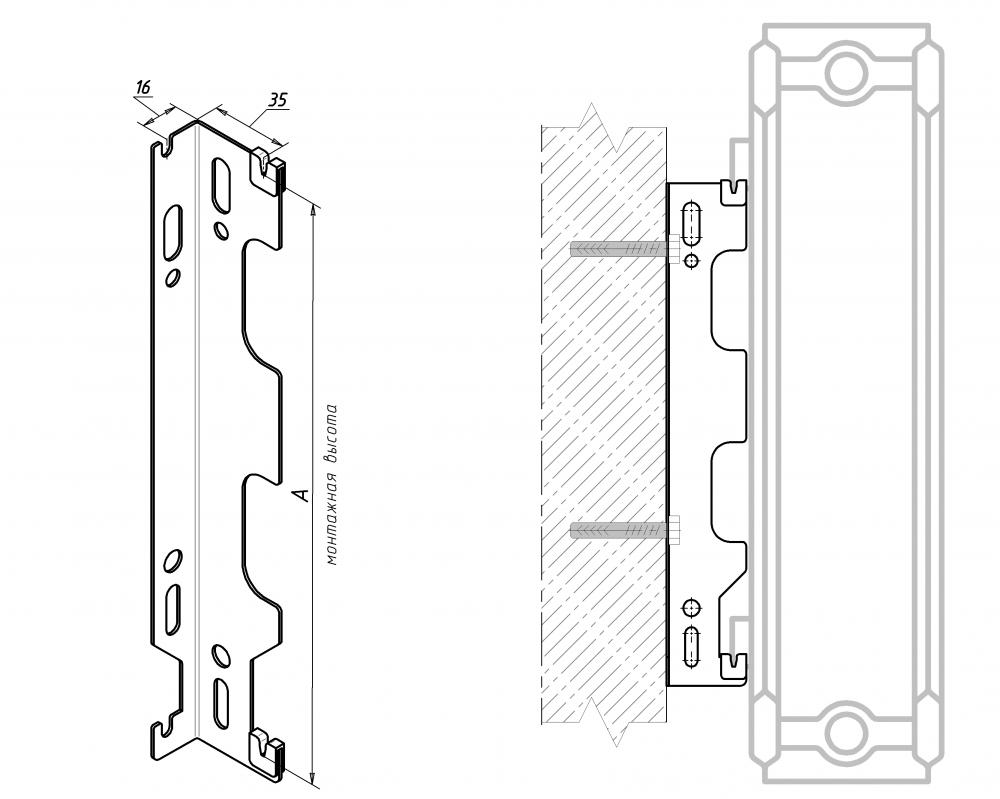 Крепление для стального радиатора — «скоба» LEMAX