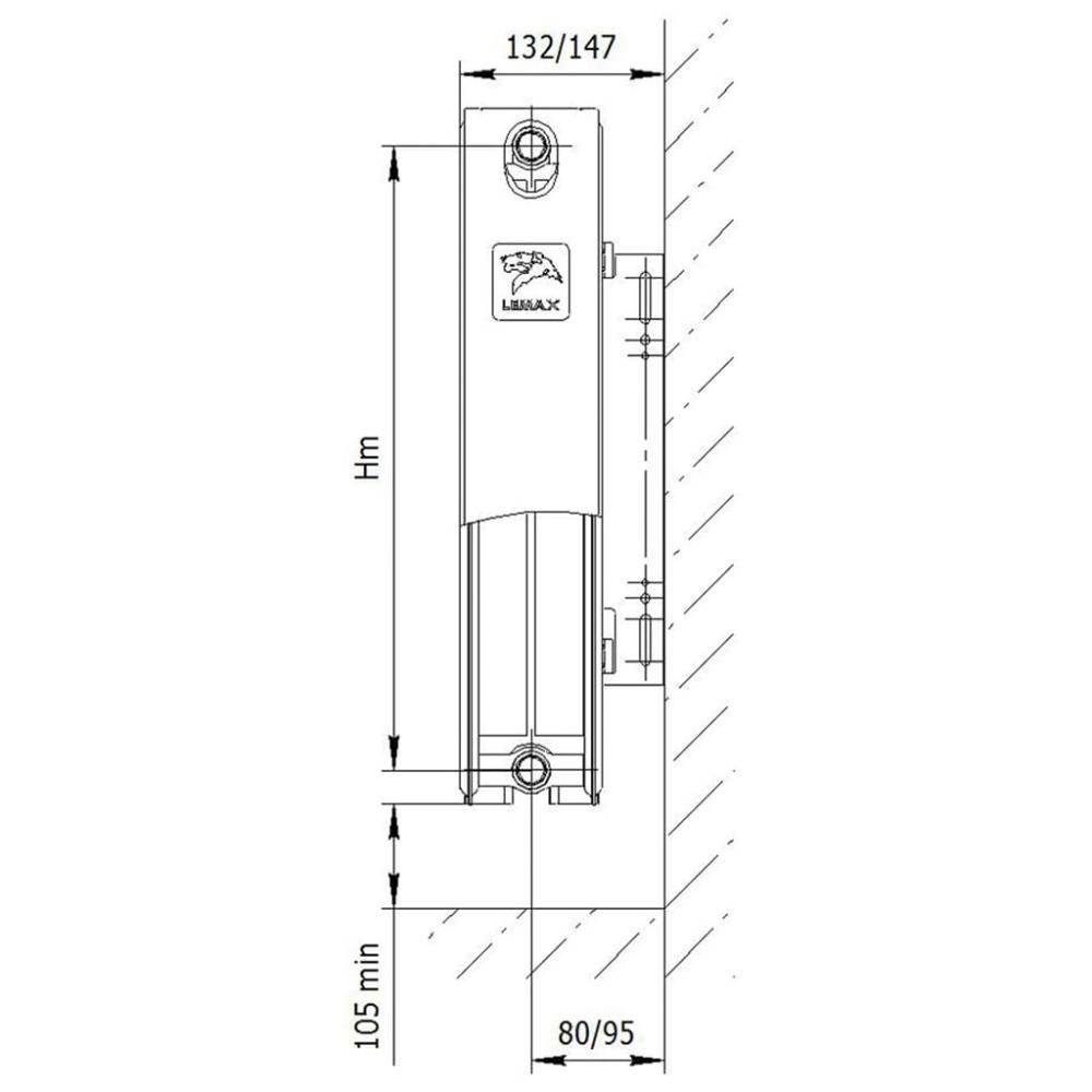 Радиатор стальной «LEMAX» Valve Compact 22 500х800